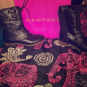 Rampage Black Distressed Boots with zipper